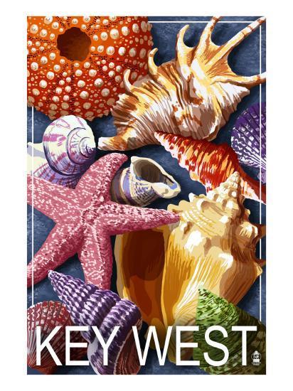 Key West, Florida - Shells-Lantern Press-Art Print