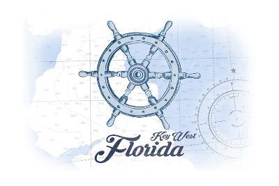 Key West, Florida - Ship Wheel - Blue - Coastal Icon-Lantern Press-Art Print