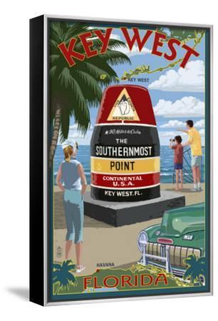 Key West, Florida - Southernmost Point-Lantern Press-Framed Canvas Print