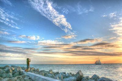 Key West Lone Figure Sunset-Robert Goldwitz-Photographic Print