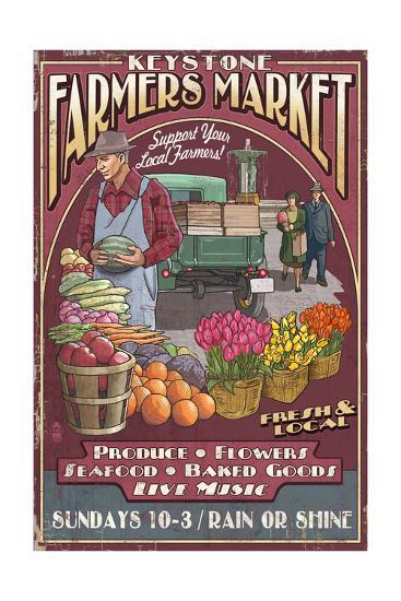 Keystone, Colorado - Farmers Market Vintage Sign-Lantern Press-Art Print