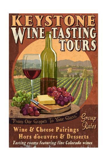 Keystone, Colorado - Wine Tasting Vintage Sign-Lantern Press-Art Print