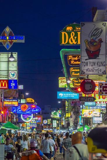 Khaosan Road at Night, Bangkok, Thailand, Southeast Asia, Asia-Jason Langley-Photographic Print
