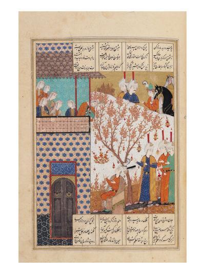 Khosro Before Shirins Palace, Illustration to Khosro and Shirin, 1176, by Elias Nezami (1140-1209)--Giclee Print