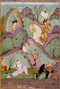 Khusraw Beholding Shirin Bathing, C. 1720-1740