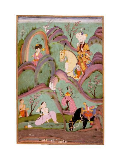 Khusraw Beholding Shirin Bathing. (Miniature From the Cycle of Eight Poetic Subjects)--Giclee Print