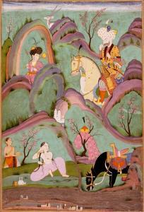 Khusraw Beholding Shirin Bathing. (Miniature From the Cycle of Eight Poetic Subjects)