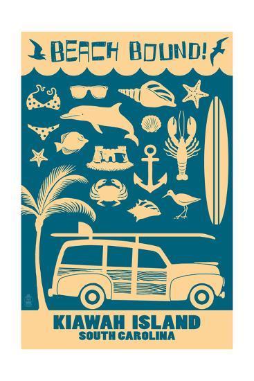 Kiawah Island, South Carolina (#3) - Coastal Icons-Lantern Press-Art Print