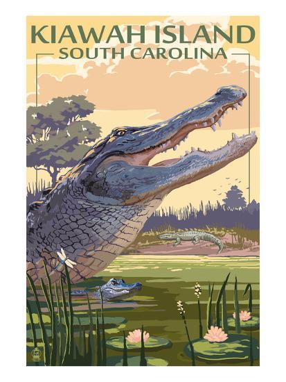Kiawah Island, South Carolina - Alligator Scene-Lantern Press-Art Print