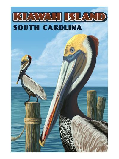Kiawah Island, South Carolina - Pelicans-Lantern Press-Art Print
