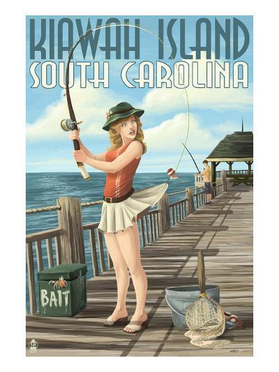 Kiawah Island, South Carolina - Pinup Girl Fishing-Lantern Press-Art Print