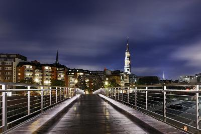 KibbelstegbrŸcke at Night, Speicherstadt, Hamburg-Mitte, Hanseatic City of Hamburg, Germany-Axel Schmies-Photographic Print