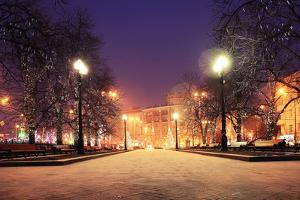 Night Winter Landscape in Amazing City by Kichigin