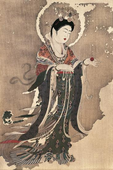 Kichipoten, Buddhist Goddess of Beauty, Painting on Hemp, Japan, Nara Period, 8th Century--Giclee Print