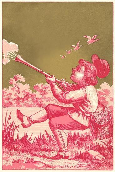 Kicked, Boy Shooting Birds--Art Print