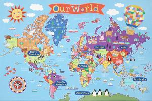 kids laminated world map