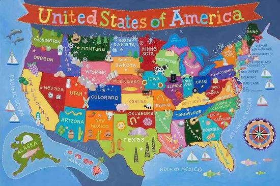 Kid's USA Laminated Map Laminated Poster by | Art.com on venezuela's map, uk's map, www.usa map,