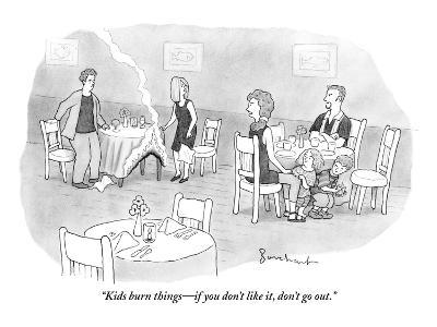 """""""Kids burn things?if you don't like it, don't go out."""" - New Yorker Cartoon-David Borchart-Premium Giclee Print"""