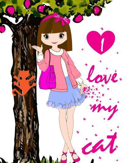 Kids Girl-emeget-Art Print