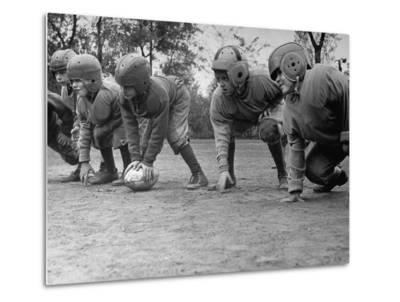 Kids Lining up Like Line Men Ready to Play-Wallace Kirkland-Metal Print