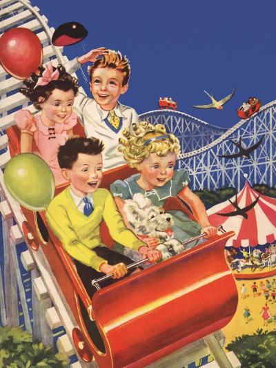 Kids on Roller Coaster--Giclee Print