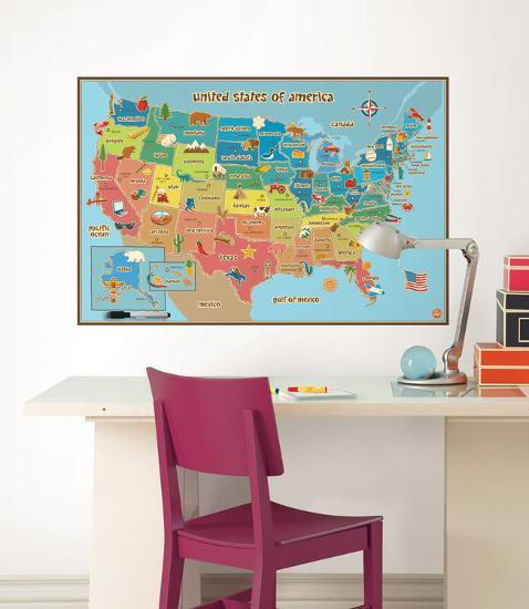 Kids Usa Map Wall Decal Sticker Wall Decal By Art Com