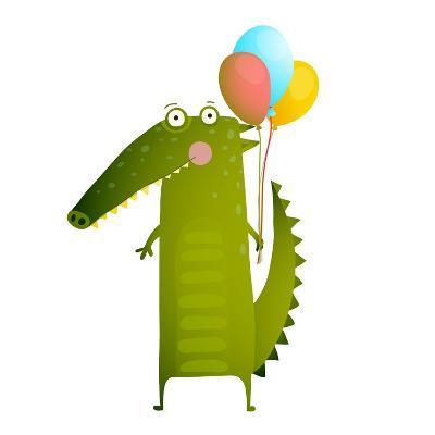 Kids Watercolor Style Crocodile with Balloons Colorful Cartoon. Happy Fun Watercolor Style Animal C-Popmarleo-Art Print