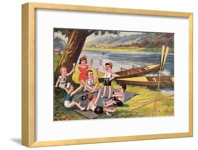 Kids with Rowboats Toasting