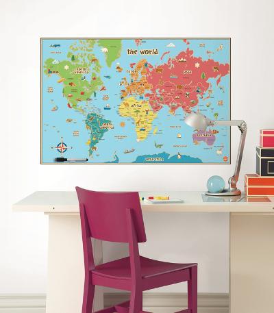 Kids World Map Wall Decal Sticker--Wall Decal