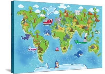 Kids World Map-Alexander Pleshko-Stretched Canvas Print