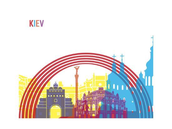 Kiev Skyline Pop-paulrommer-Art Print