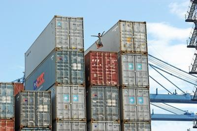 A Ballerina Dancing on a Container at Panama Ports Company by Kike Calvo