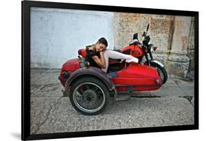 A Ballerina From The Cuba National Ballet Rests On A Vintage Sidecar by Kike Calvo