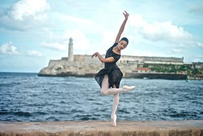 A Classical Ballerina from the Cuba National Ballet at the Malecon