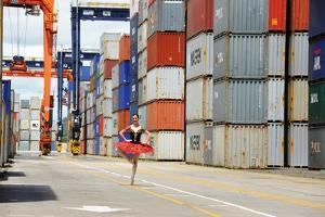 A Dancer Of The National Ballet Of Panama, Posing In The City Port by Kike Calvo