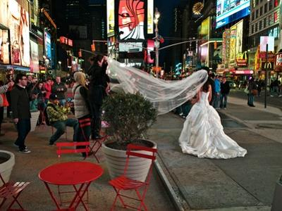 A Wedding in Times Square, New York at Night by Kike Calvo