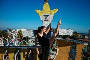 Cuban National Ballet Dancer Dancing At The Studio Of Cuban Artist Jose Fuster by Kike Calvo