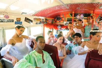 Dancers From The Panama National Ballet, Inside A 'Red Devil' Bus by Kike Calvo