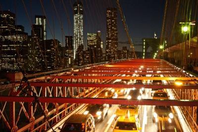 Traffic on the Brooklyn Bridge at Night by Kike Calvo