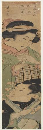 Oshichi and Kichisaburo from a Kabuki Play, Mid 19th Century