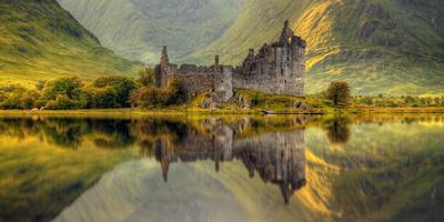 Kilchurn Castle Reflection in Loch Awe, Argyll and Bute, Scottish Highlands, Scotland--Photographic Print