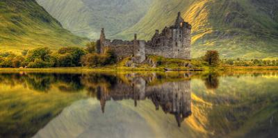 Kilchurn Castle Reflection in Loch Awe, Argyll and Bute, Scottish Highlands, Scotland