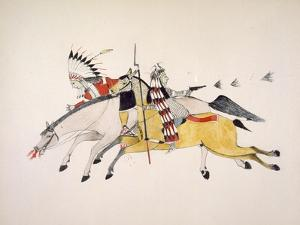 Red Walker and a Companion Fleeing from Pursuing Crow Indians by Kills Two