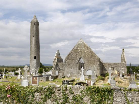 Kilmacdaugh Churches and Round Tower, Near Gort, County Galway, Connacht, Republic of Ireland-Gary Cook-Photographic Print