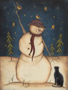 Snowman with Black Cat by Kim Lewis