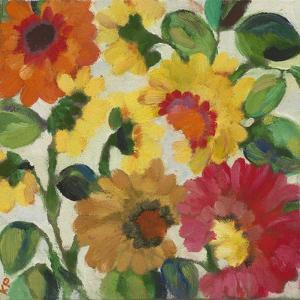 Yellow Zinnias by Kim Parker