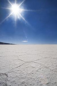 Backlit with Sun Star Shot of Hexagonal Shaped Salt Flats, Salar De Uyuni, Bolivia, South America by Kim Walker