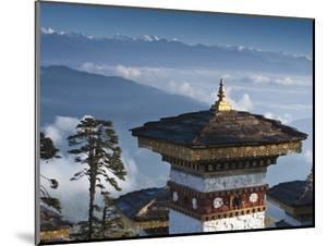 Buddhist Chorten, Dochula Pass, Himalayan Mountain Range in Distance, Bhutan, Asia by Kim Walker
