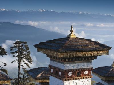 Buddhist Chorten, Dochula Pass, Himalayan Mountain Range in Distance, Bhutan, Asia
