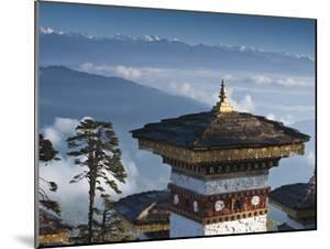 Buddhist Chorten, Dochula Pass, Himalayan Mountain Range in Distance, Bhutan, Asia by Kim Walker